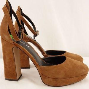 New COACH Chrystie Suede Ankle Strap Block Heel